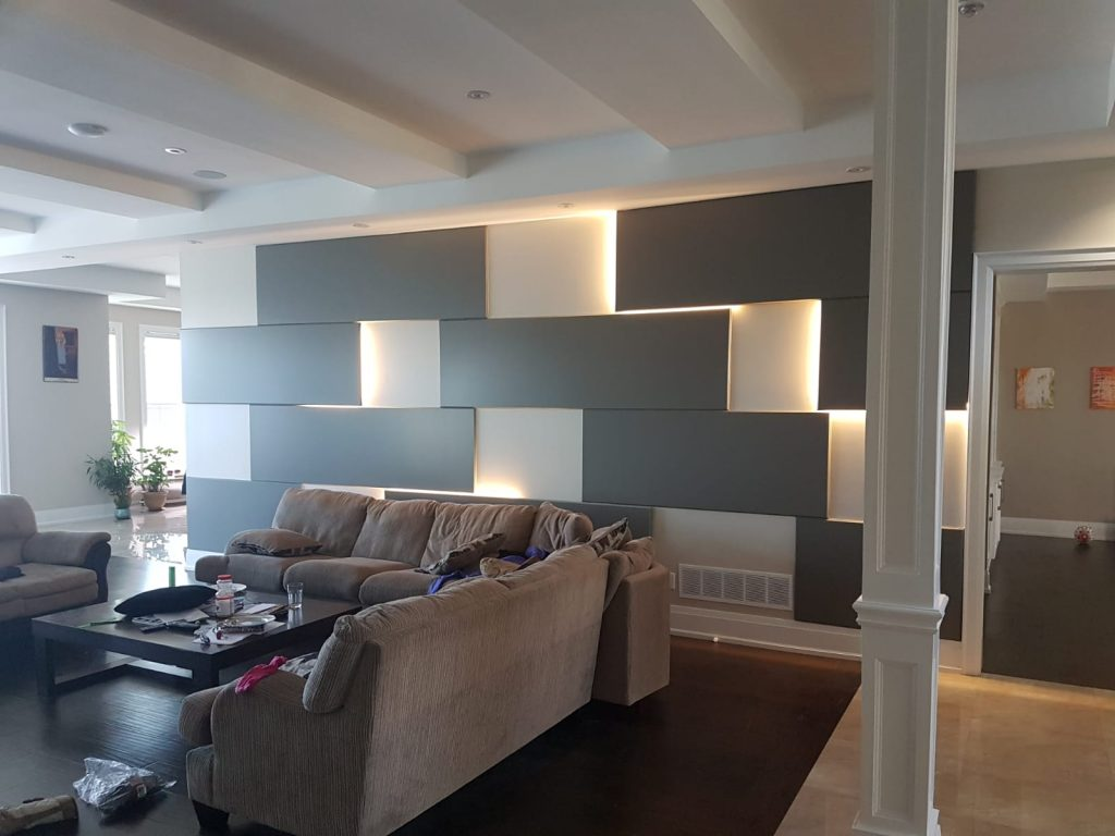 3 D Wall Panels in Amazing Family Room - Luxury Wall Design Richmond Hill
