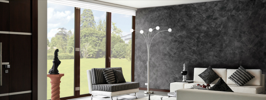 black wallpaper installation-luxury wall finish in custom living room north york
