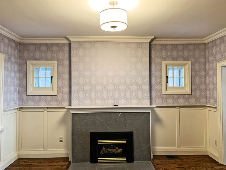 after wallpaper installationin amazing family room toronto