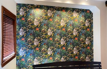 amazing wallpaper installation in custom home hallway Aurora