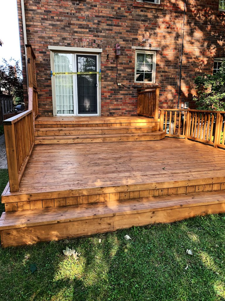 new deck painting in the backyard - exterior painting Markham