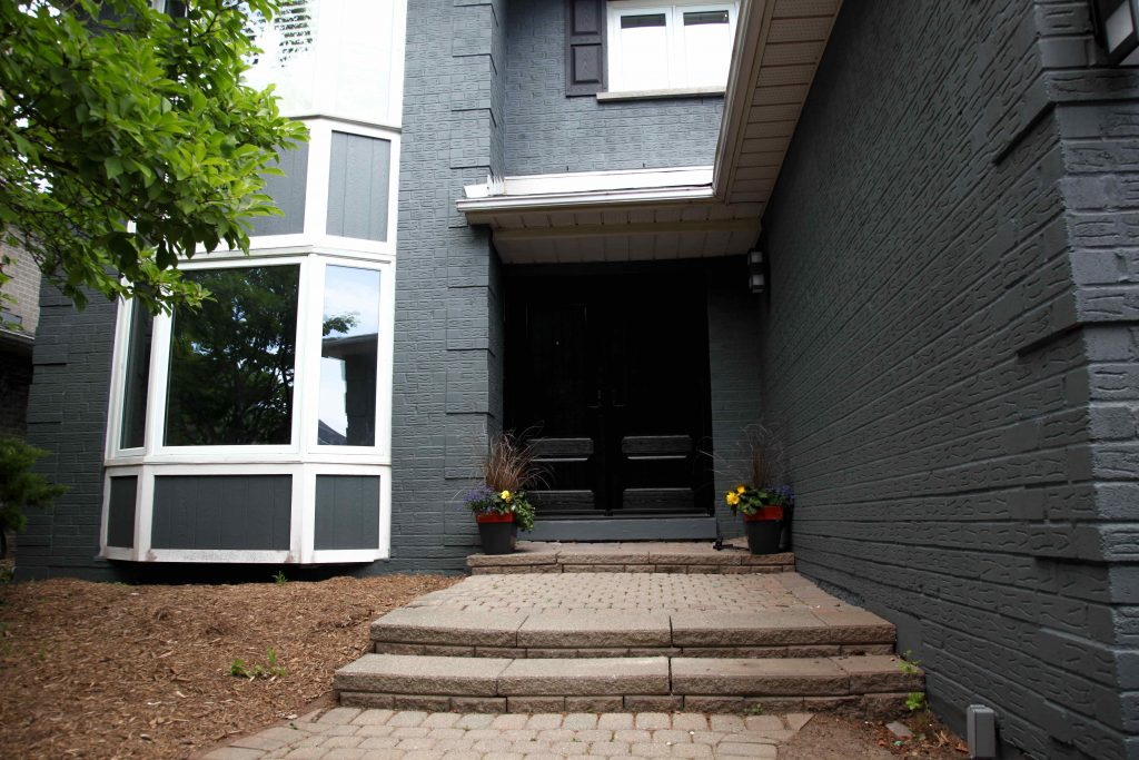 amazing gray exterior painting in custom home Vaughan