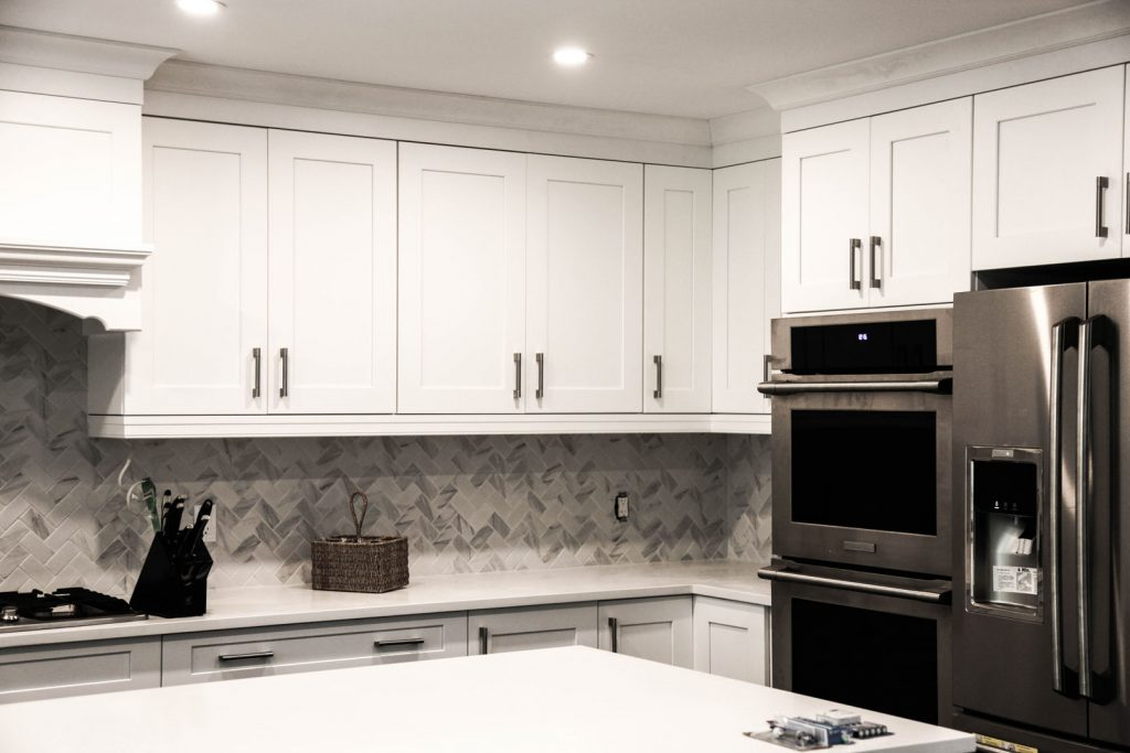 modern kitchen with Crown molding trim and interior painting Markham