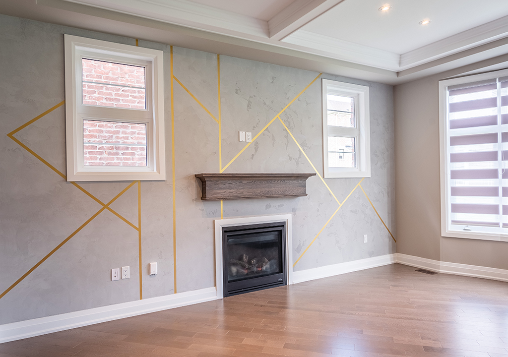 Amazing Waffle Ceiling and Build in Fire Place with Luxury Wall Paint Markham