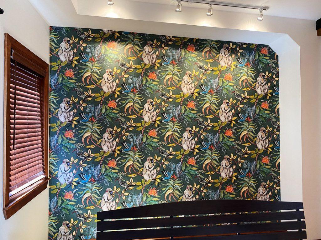 amazing wallpaper installation in custom home hallway Aurora